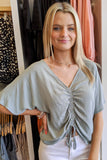 Always Be Yours Ruched Top - Dusty Sage