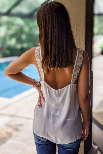 Always & Forever V-Neck Lace Trim Cami Top - Off White