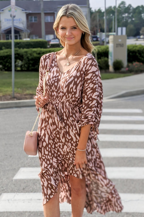 Always Wild Animal Print Midi Dress - Blush Mix