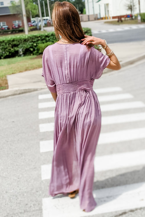 Always in My Thoughts Crochet Lace Duster - Faded Plum