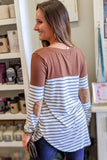 Autumn Days Striped Color Block Top - Lt. Brown