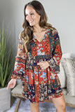 Autumn Gardens Patchwork Print Dress - Rust