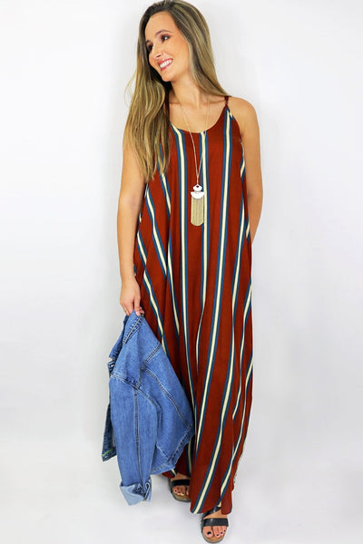 Autumn Stripes Maxi Dress - Rust