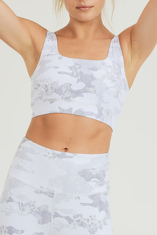 Avery Camo Print Sports Bra - Ice