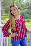 Back in Line Striped Top - Burgundy