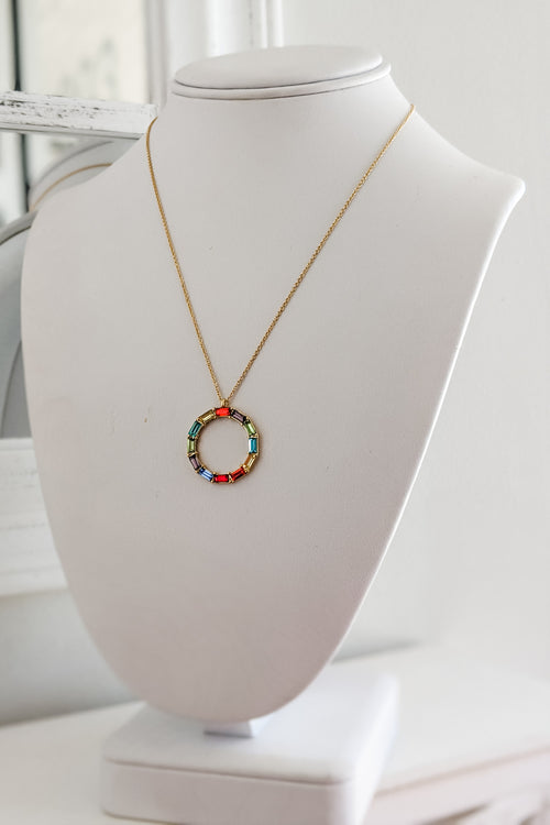 Baguette Bead Circle Necklace - Rainbow