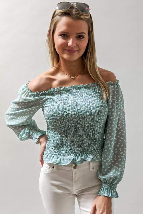 Be Your Darling Printed Off Shoulder Top - Seafoam