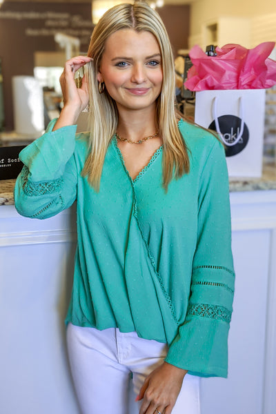 Be Your Love Swiss Dot V-Neck Top - Mint