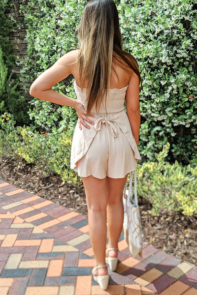 Beach Dreams Strapless Romper - Natural