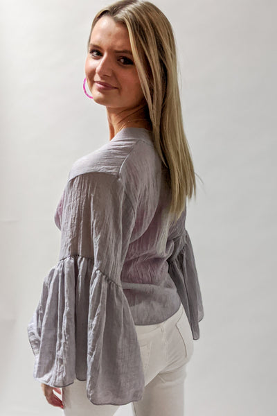 Beachside Beauty Wrap Top - Gray