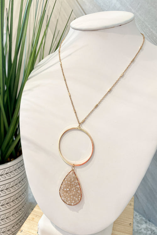 Bead Teardrop & Circle Necklace - Blush