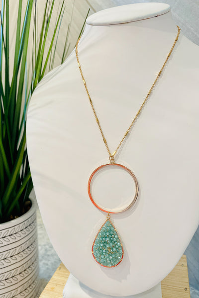 Bead Teardrop & Circle Necklace - Mint