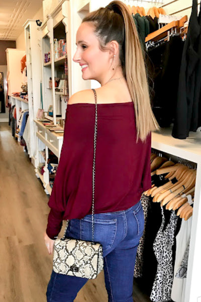 Believe in Love Off Shoulder Top - Burgundy