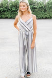 Believe in Us Striped Jumpsuit - Black/White
