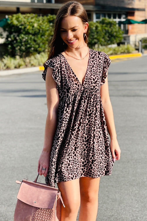 Best Kept Secret Leopard Print Romper Dress - Taupe