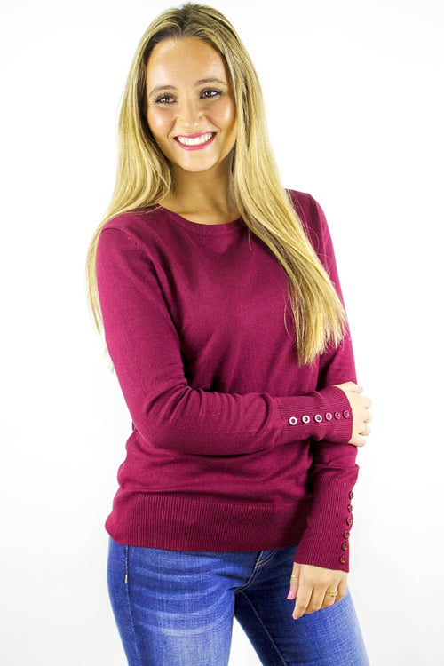 Better Basics Round Neck Sweater - Dark Burgundy
