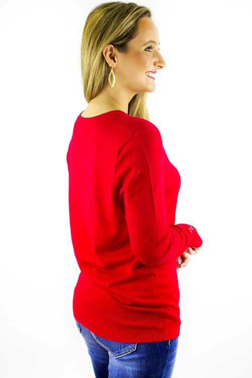 Better Basics Round Neck Sweater - Ruby