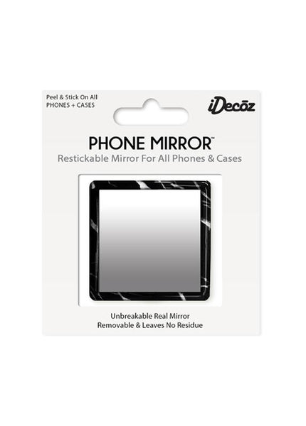 Black Marble Square Phone Mirror - iDecoz