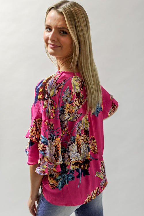 Blissful Meadows Floral Print Top - Hot Pink