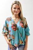 Blissful Meadows Floral Print Top - Mint