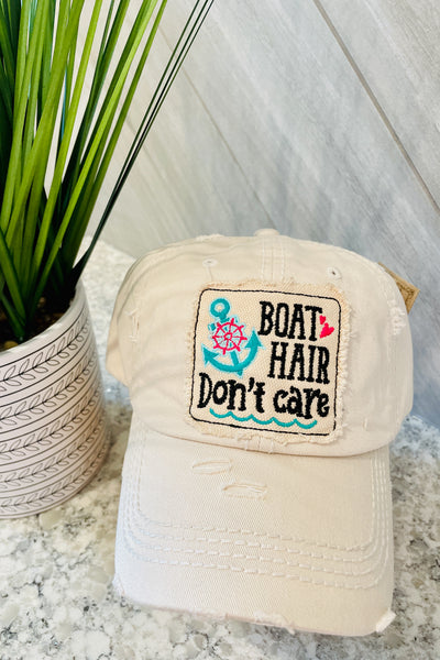 """Boat Hair Don't Care"" Patchwork Cap - Tan"