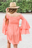 Breezy Feelings Off Shoulder Dress - Coral