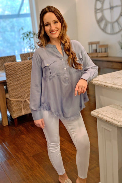 Breezy Oceans Top - Light Blue