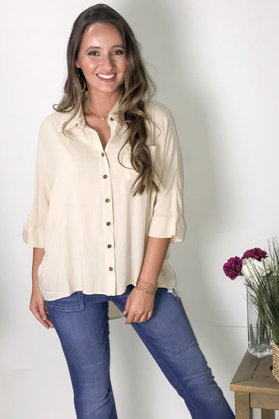 Breezy Summer Days Button Up Top - Natural
