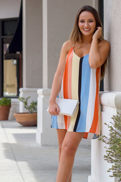 Brighter Stripes Tunic Dress - Orange