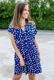 Bring Some Joy Spot Print Babydoll Dress - Navy Mix
