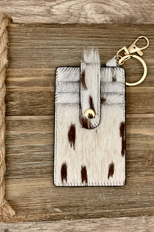 Button Genuine Leather Card Holder - Cow