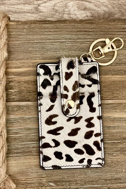 Button Genuine Leather Card Holder - Leopard