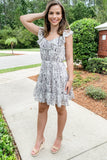 By Your Side Snake Print Tiered Dress - Gray