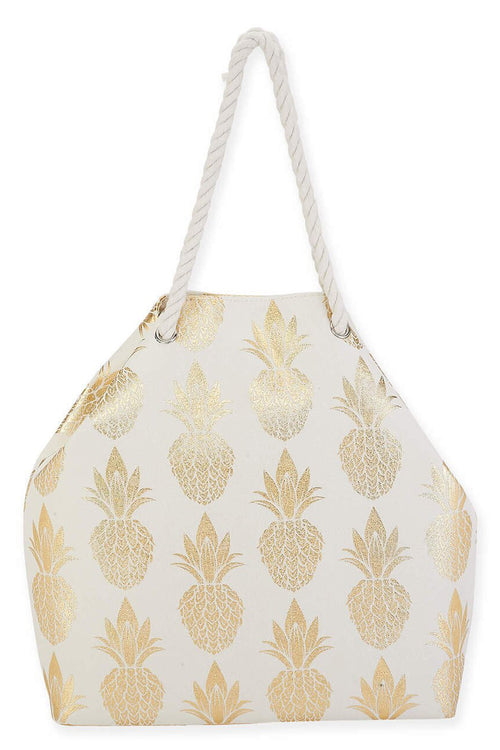 The Leah Pineapple Print Shoulder Tote - Gold