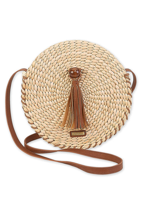 The Ellie Straw Round Crossbody Bag - Tan