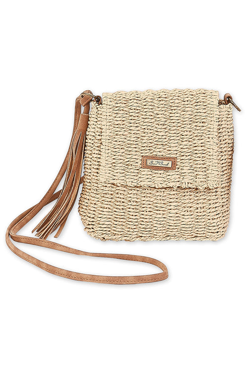The Aubrey Straw Crossbody Bag - Natural