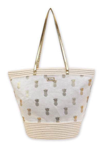The Isla Pineapple Print Shoulder Tote - Gold