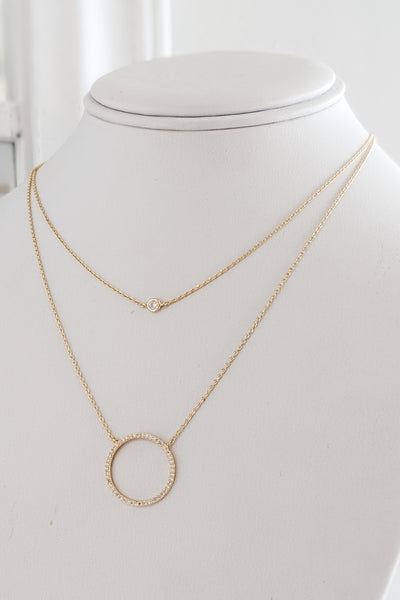 CZ Circle Layered Necklace - Gold