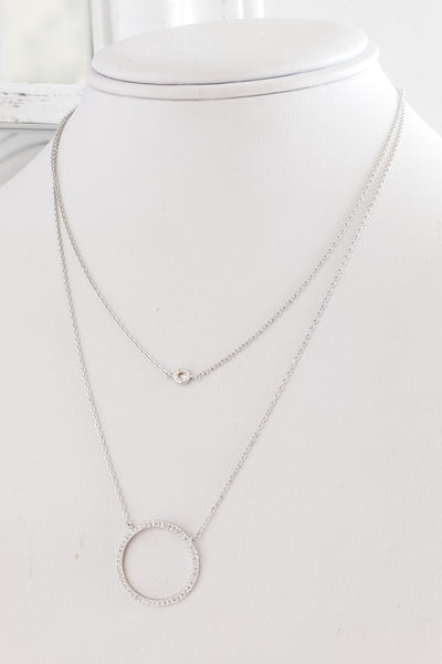 CZ Circle Layered Necklace - White Gold