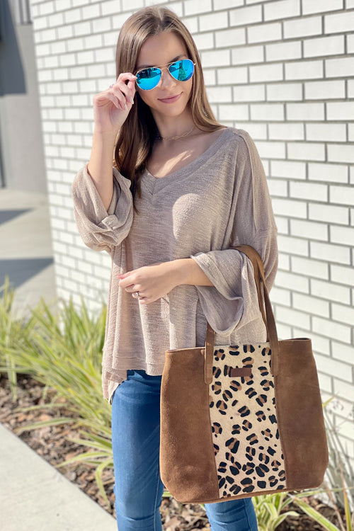 Call Me Casual Hacci V-Neck Bell Sleeve Top - Khaki