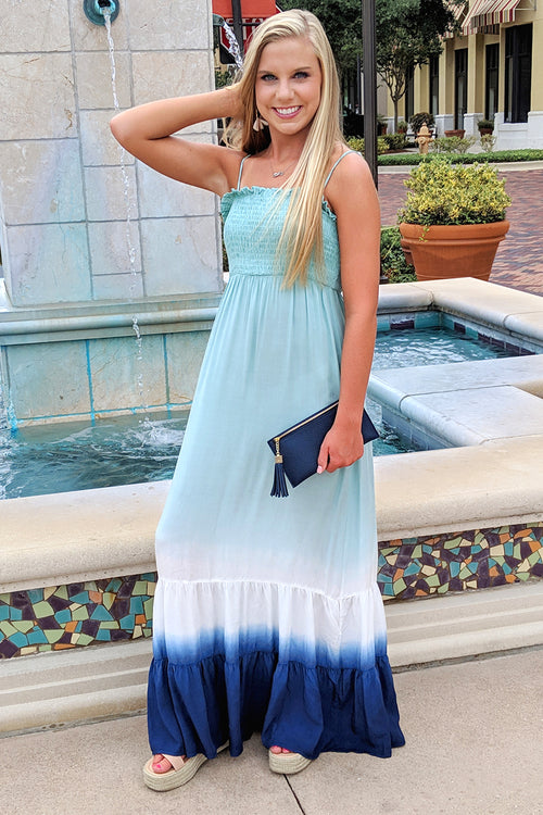Calling of the Sea Tie-Dye Maxi - Sage/Navy