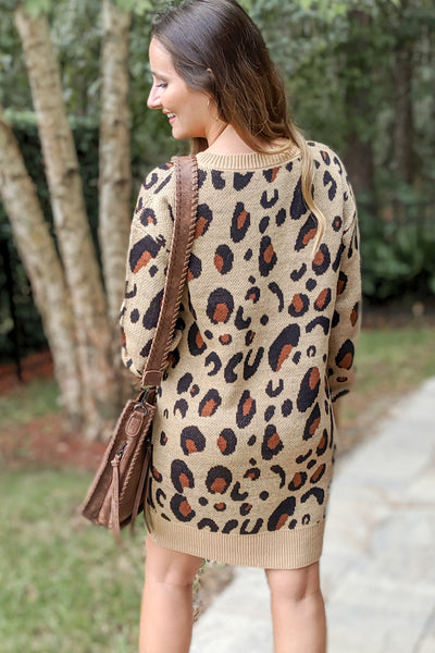 Can't Stop Me Leopard Print Sweater Dress - Brown