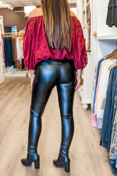 Carrie Faux Leather Leggings - Black