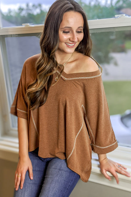 Believe in Love Off Shoulder Top - Rust
