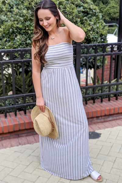 Casual Days Striped Maxi - Heather Gray