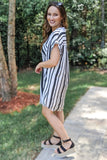 Casual Stripes Button Up Dress - Black