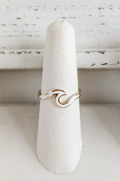 Catch A Wave Epoxy Ring - Gold/White