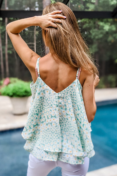 Charming Gardens Ditsy Floral Print Cami Top - Lt. Jade