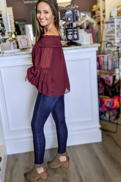Chasing Love Swiss Dot Off Shoulder Top - Burgundy
