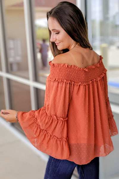 Chasing Love Swiss Dot Off Shoulder Top - Rust